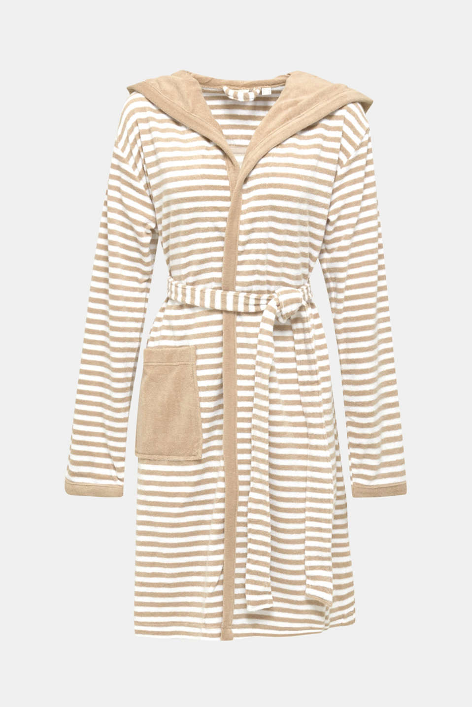 Terry cloth bathrobe with stripes, MOCCA, detail image number 4