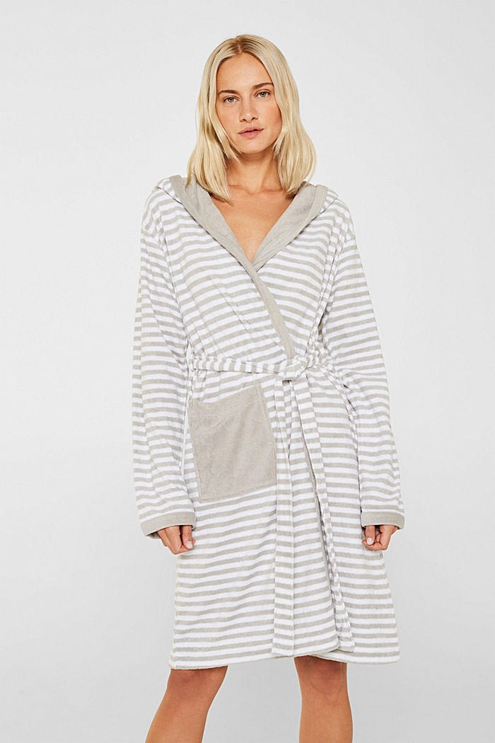 Terry cloth bathrobe with stripes, STONE, detail image number 0