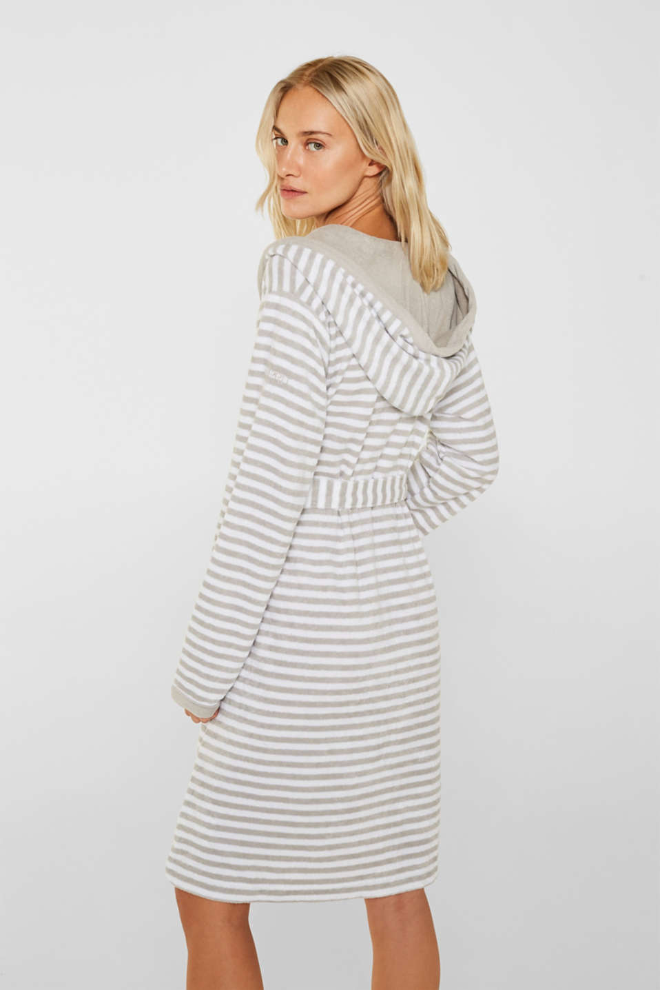 Terry cloth bathrobe with stripes, STONE, detail image number 1