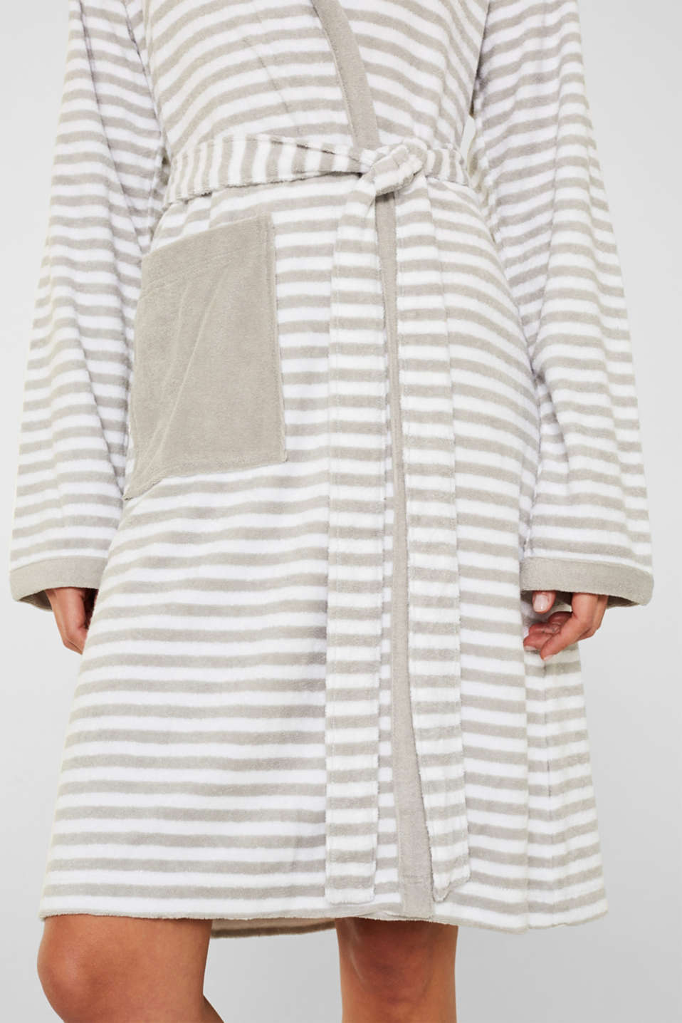 Terry cloth bathrobe with stripes, STONE, detail image number 2