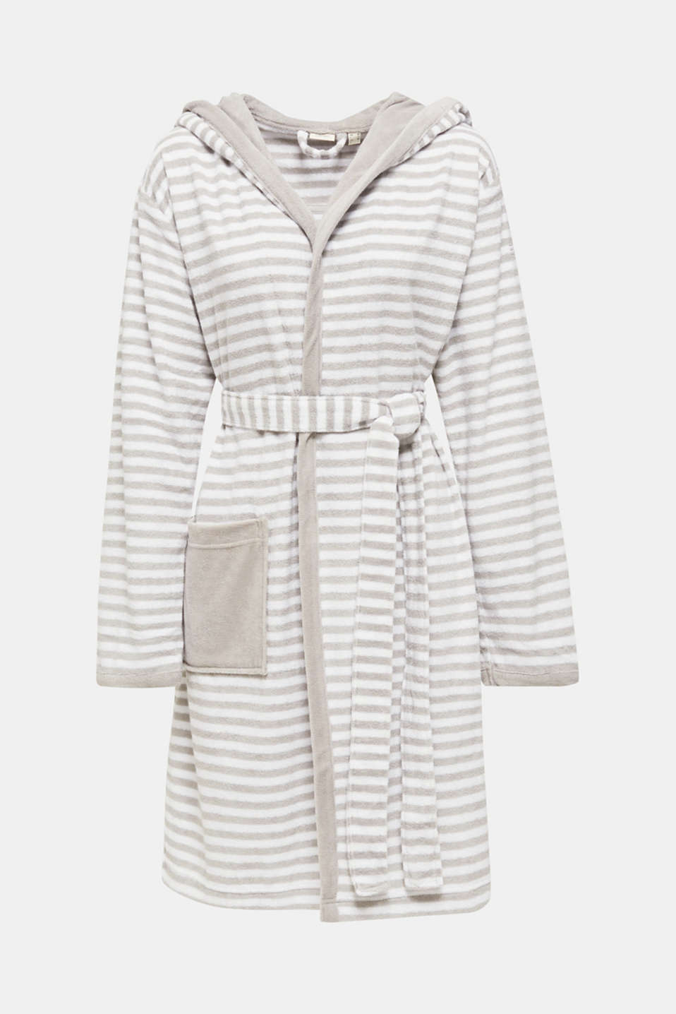 Terry cloth bathrobe with stripes, STONE, detail image number 3