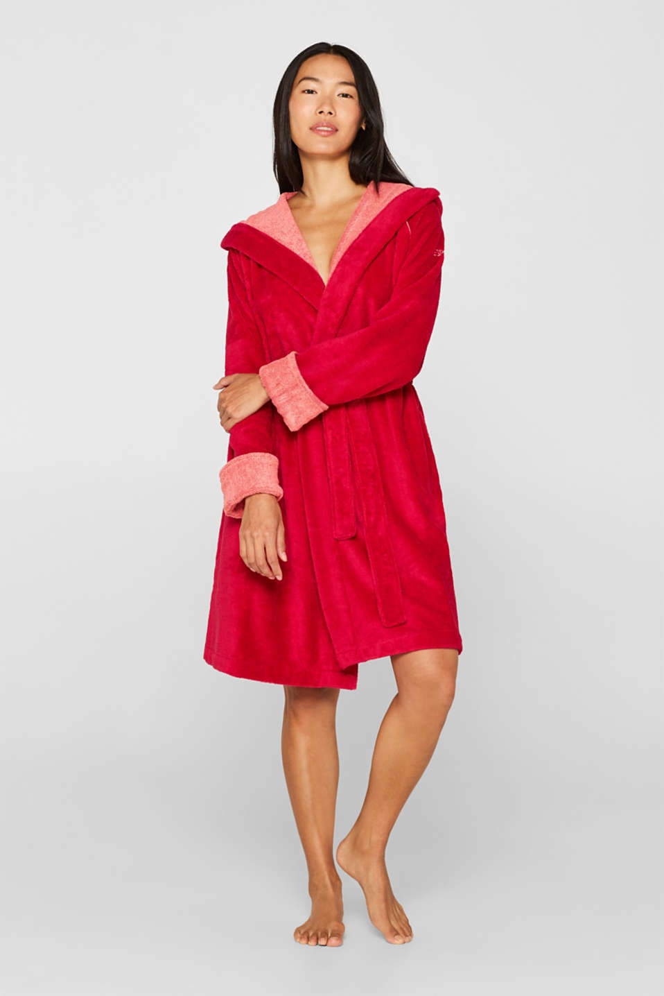 Velours bathrobe, RASPBERRY, detail image number 1