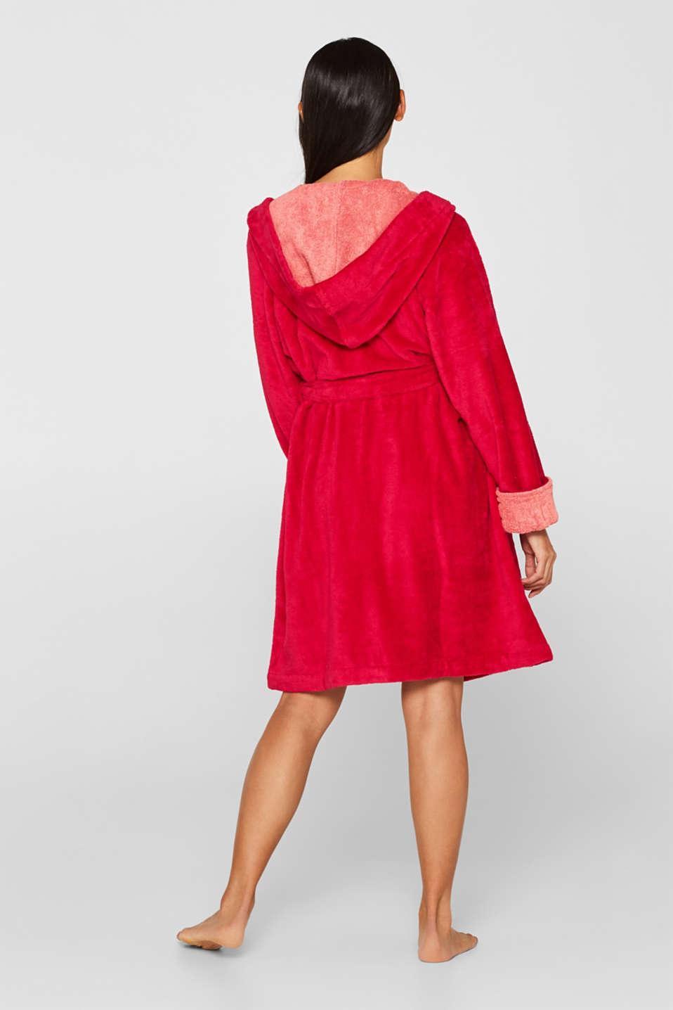 Velours bathrobe, RASPBERRY, detail image number 2