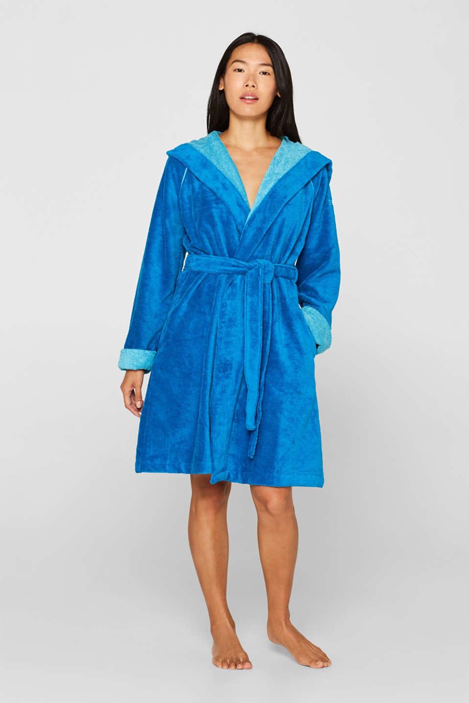 Velours bathrobe, TURQUOISE, detail image number 1