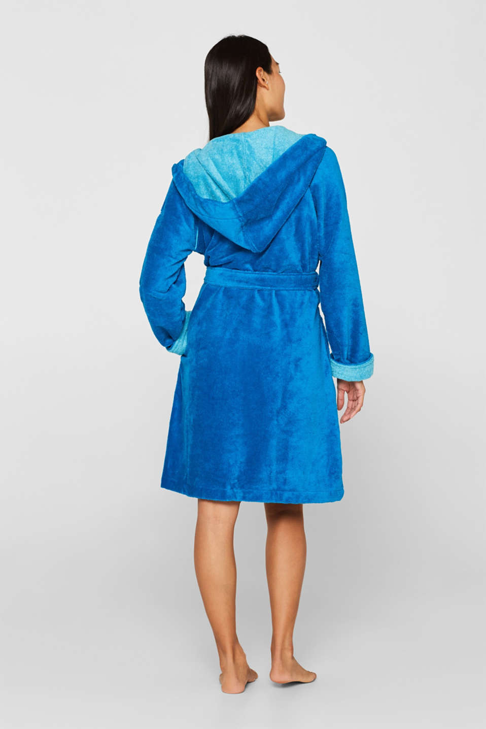 Velours bathrobe, TURQUOISE, detail image number 2