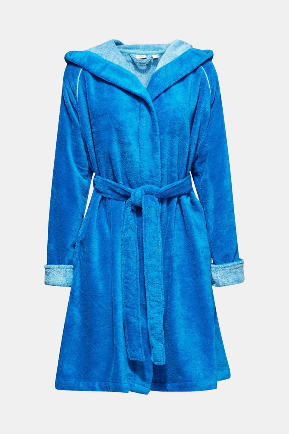 Velours bathrobe, TURQUOISE, detail image number 4