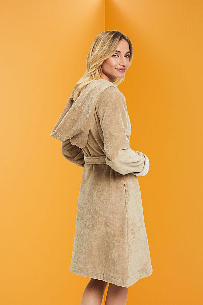 Velours bathrobe, BEIGE, detail image number 1