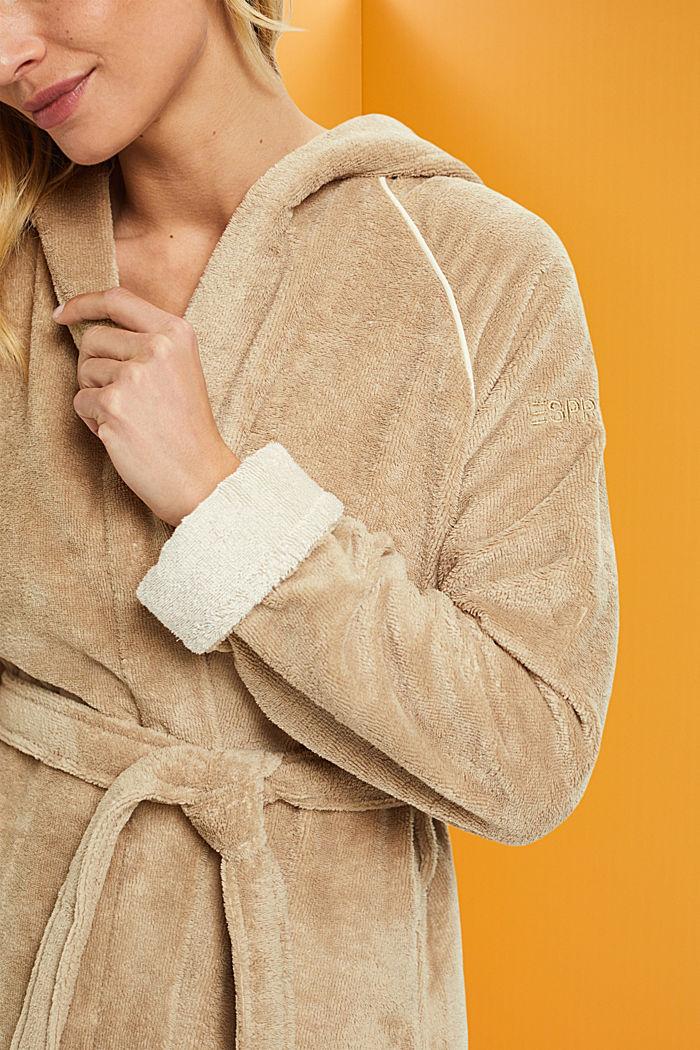 Velours bathrobe, BEIGE, detail image number 2