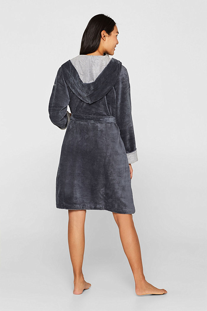 Velours bathrobe, GREY, detail image number 2