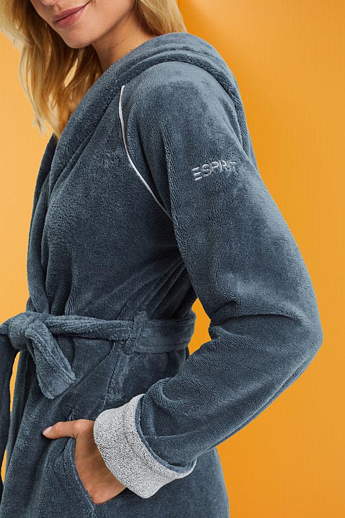 Velours bathrobe, GREY, detail image number 3