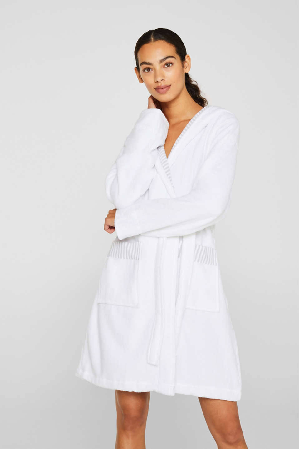 Suede bathrobe made of 100% cotton, WHITE, detail image number 1