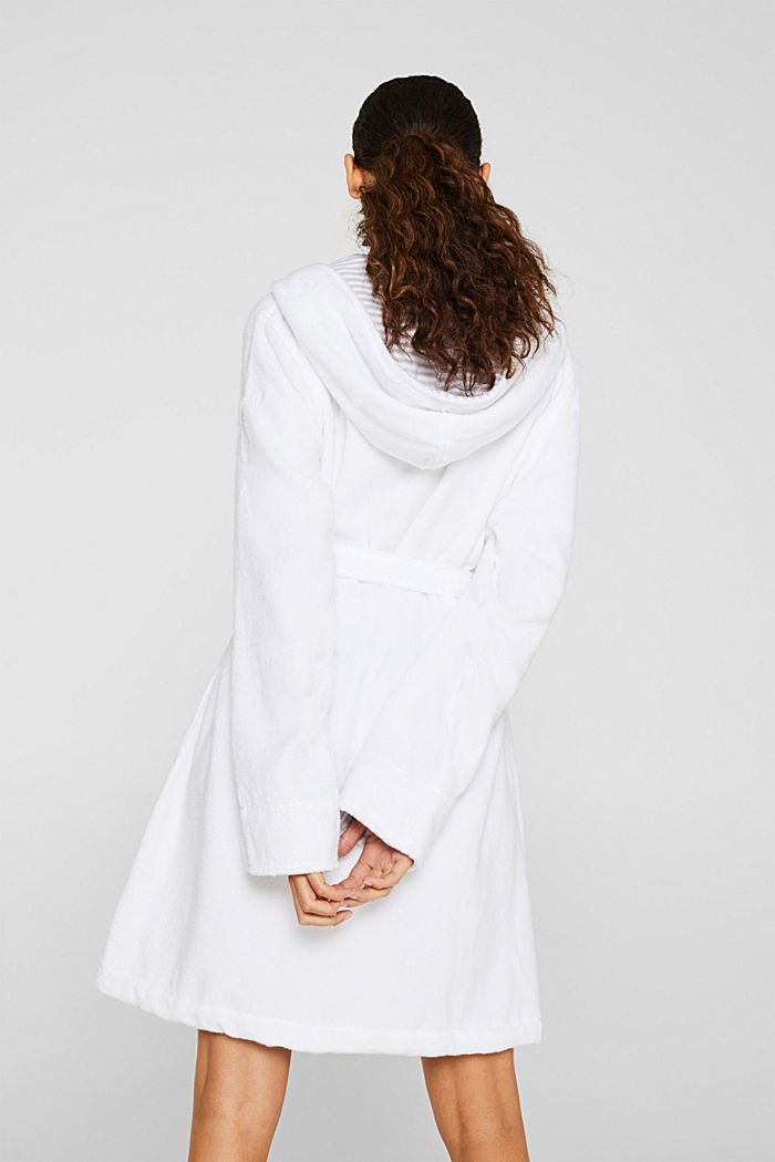 Suede bathrobe made of 100% cotton, WHITE, detail image number 2