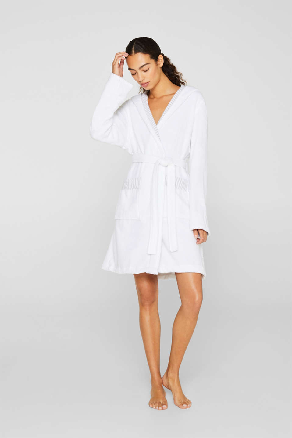 Suede bathrobe made of 100% cotton, WHITE, detail image number 0