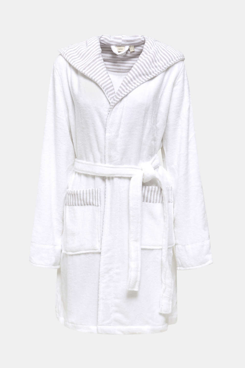 Suede bathrobe made of 100% cotton, WHITE, detail image number 4