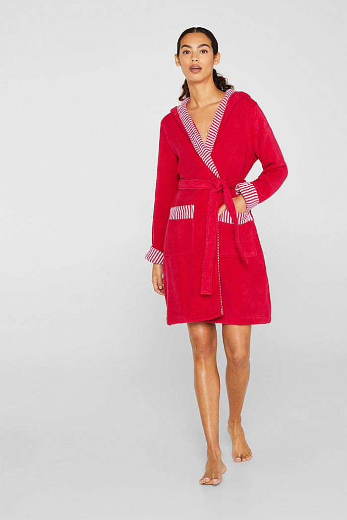 Suede bathrobe made of 100% cotton, RASPBERRY, detail image number 0