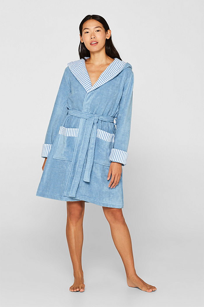 Suede bathrobe made of 100% cotton