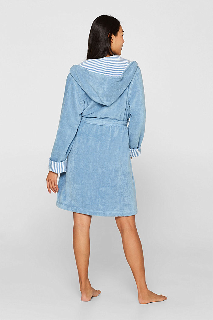 Suede bathrobe made of 100% cotton, SKY BLUE, detail image number 2