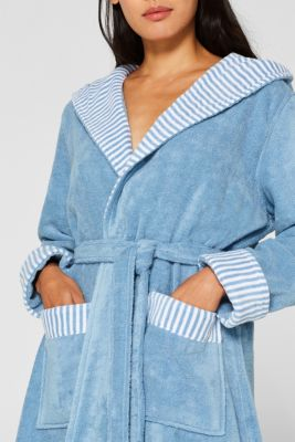 Suede bathrobe made of 100% cotton, SKY BLUE, detail