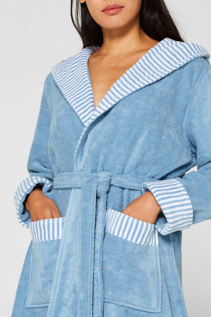 Suede bathrobe made of 100% cotton, SKY BLUE, detail image number 0