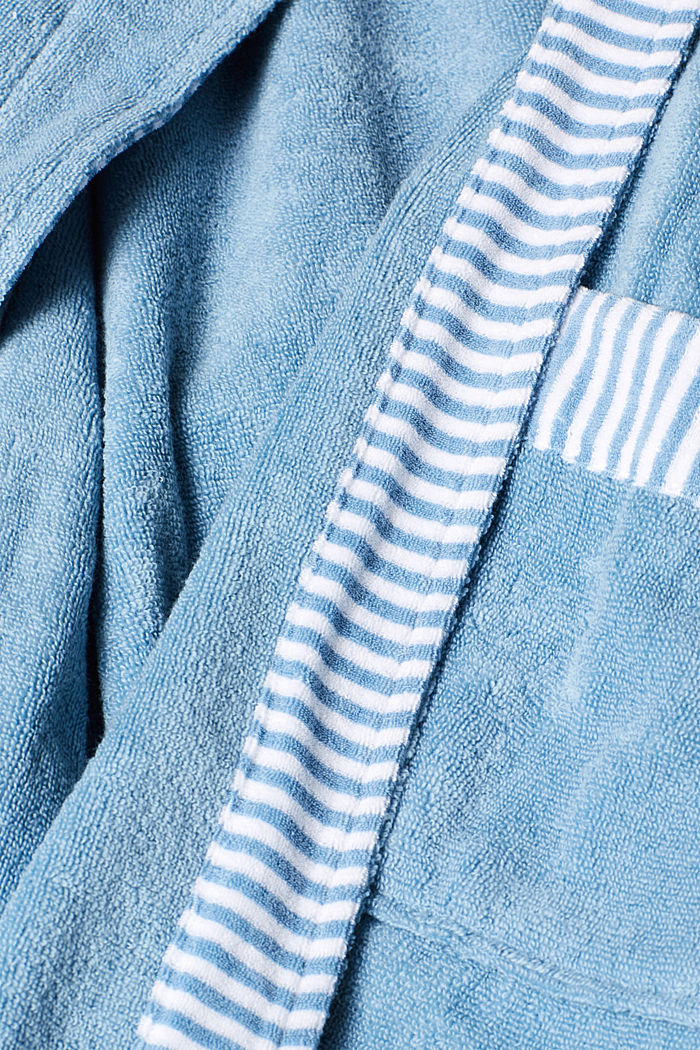 Suede bathrobe made of 100% cotton, SKY BLUE, detail image number 3