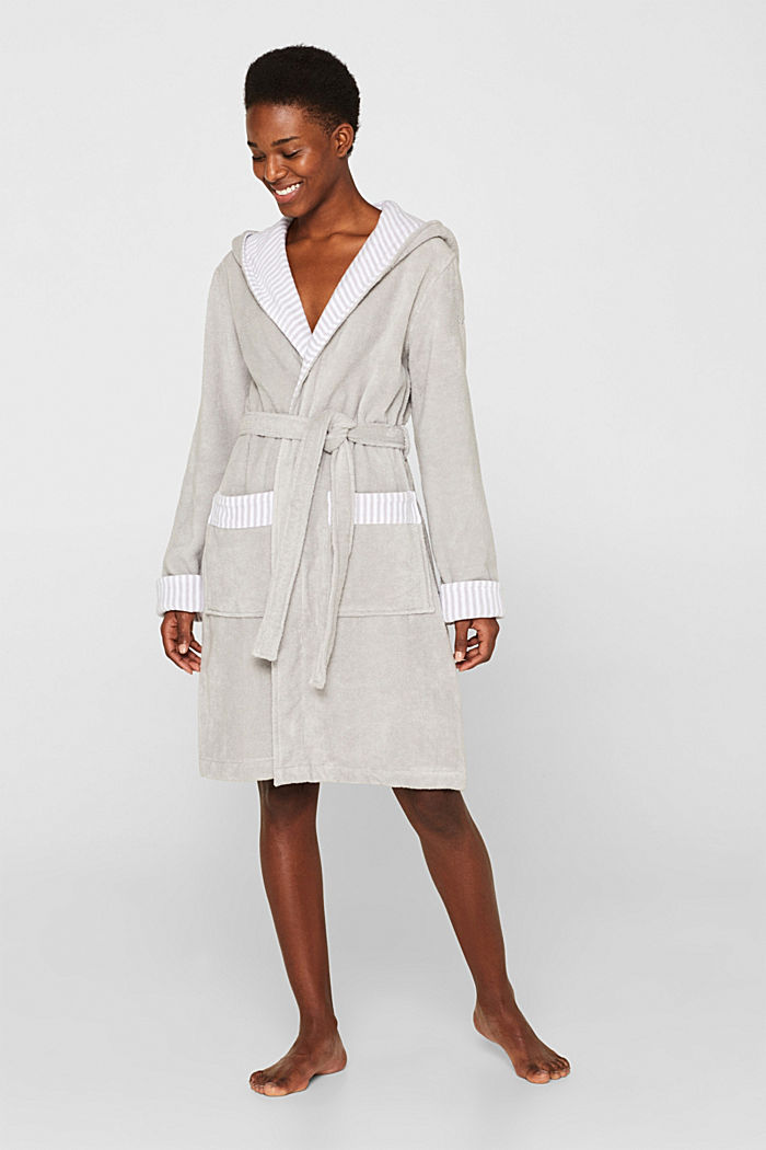 Suede bathrobe made of 100% cotton, STONE, detail image number 0