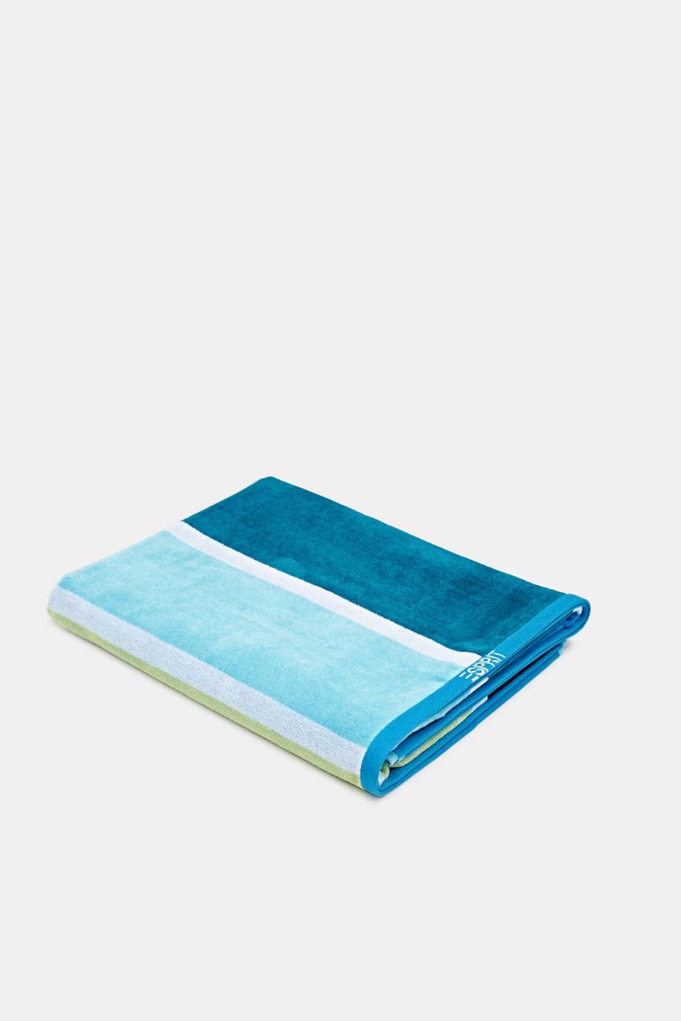 Beach towel with block stripes, OCEAN BLUE, detail image number 2