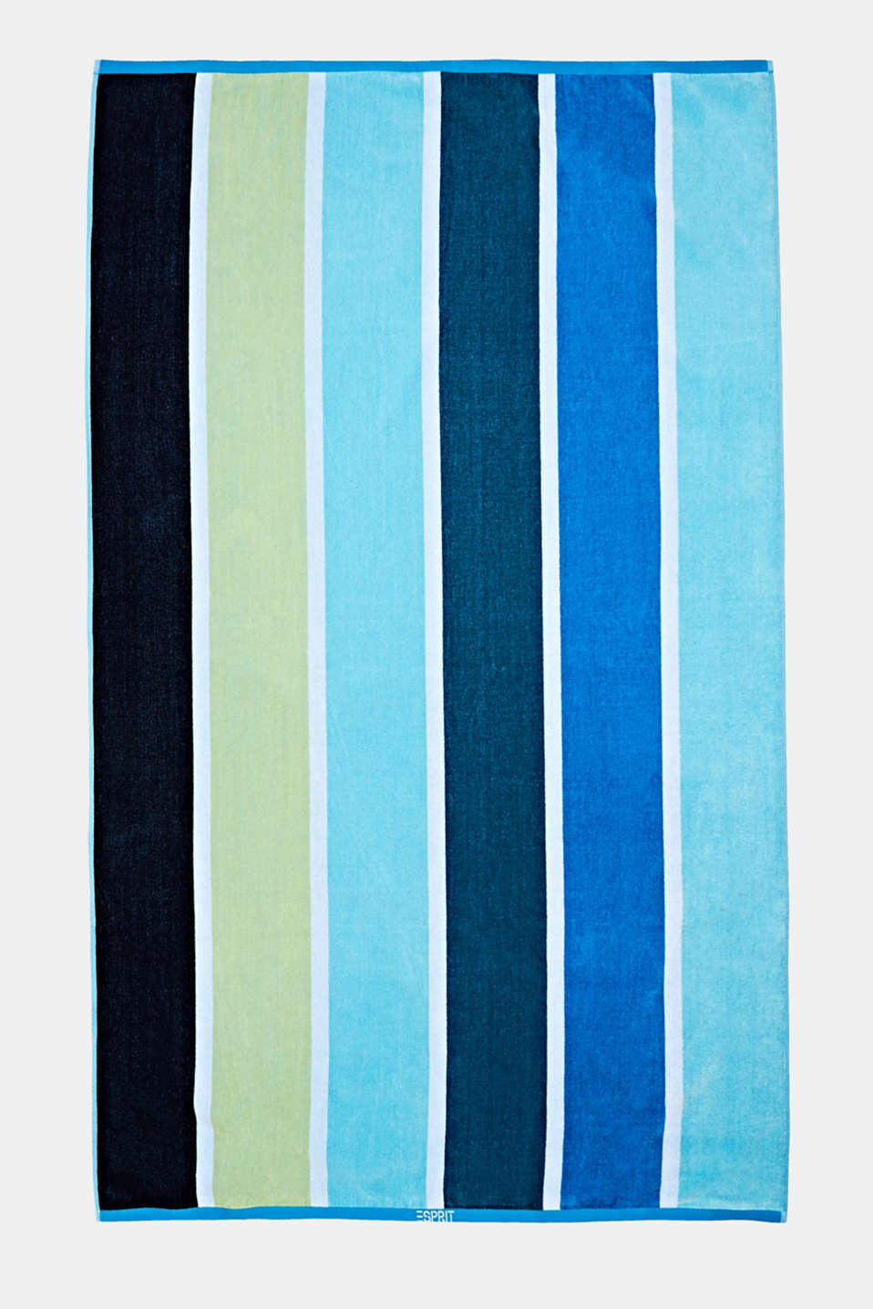 Beach towel with block stripes, OCEAN BLUE, detail image number 0
