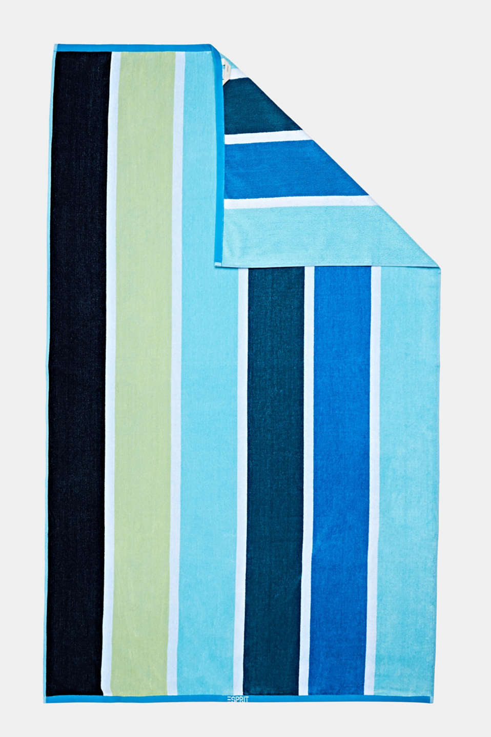 Beach towel with block stripes, OCEAN BLUE, detail image number 3