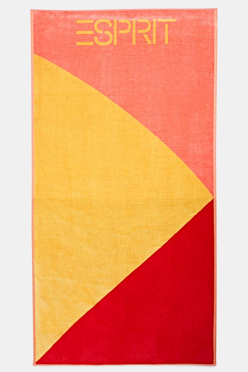 Colour block beach towel, 100% cotton, SUN, detail image number 0
