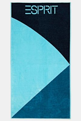Colour block towel made of 100% cotton, TURQUOISE, detail