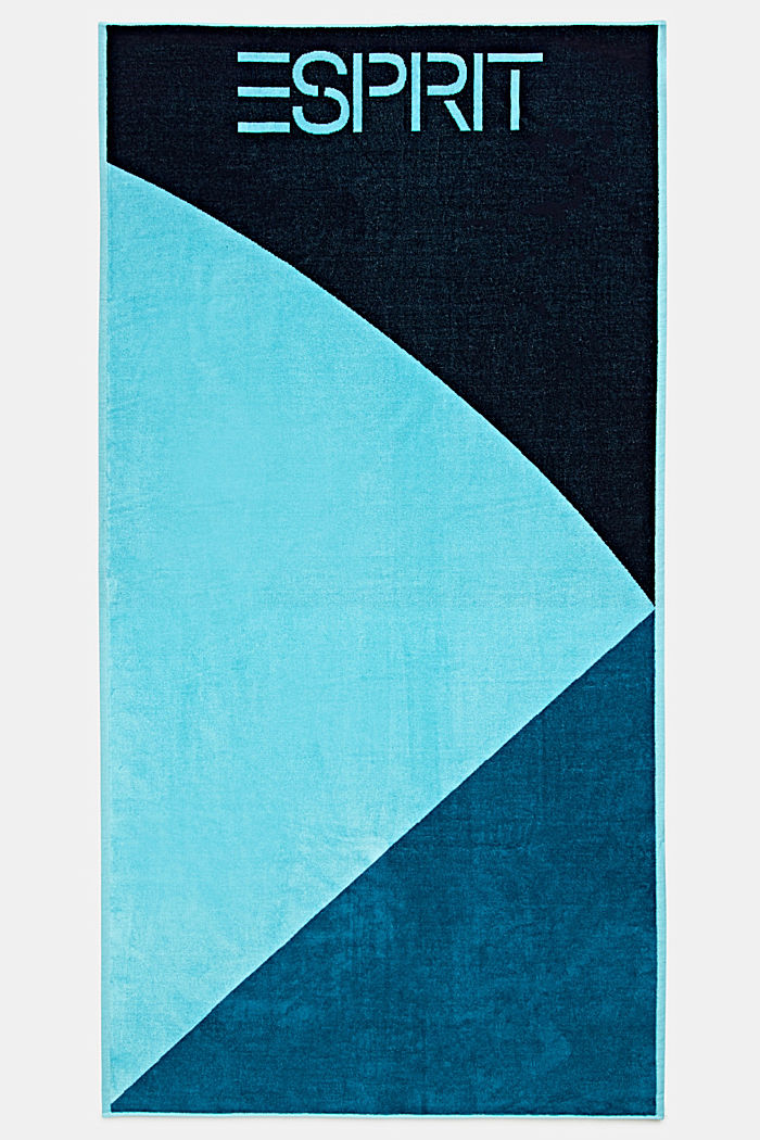 Colour block towel made of 100% cotton, TURQUOISE, detail image number 0