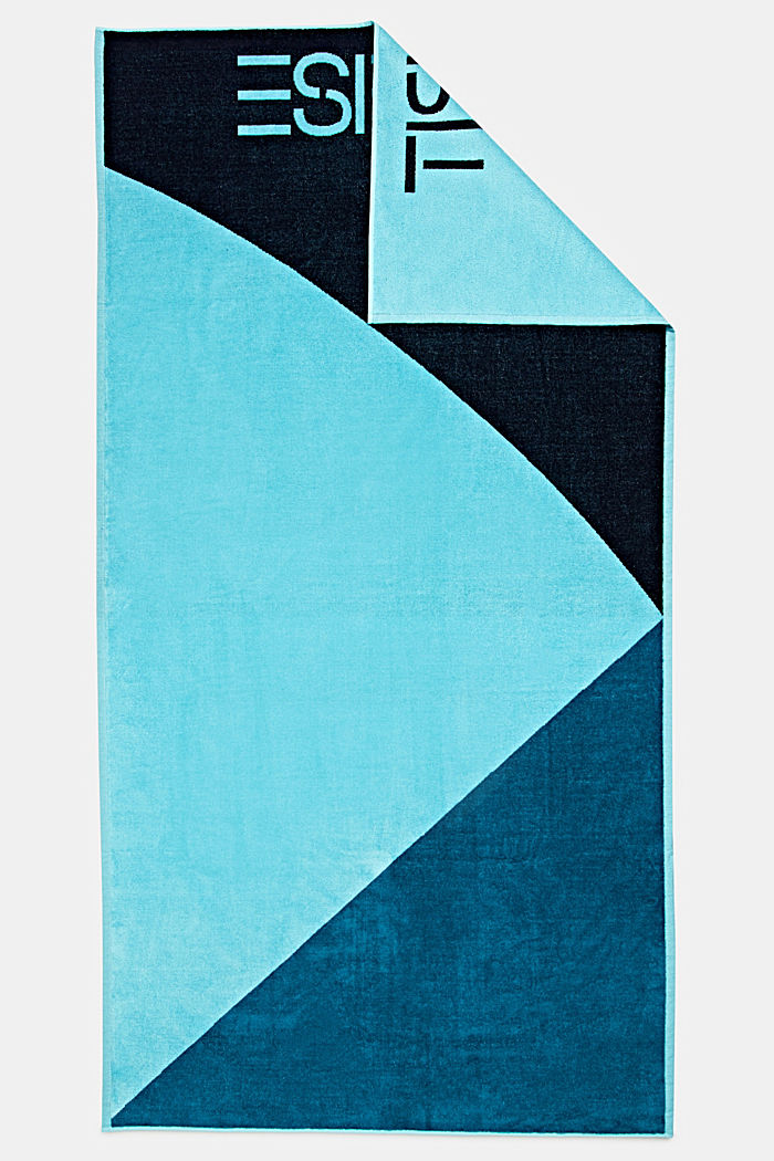 Colour block towel made of 100% cotton, TURQUOISE, detail image number 4