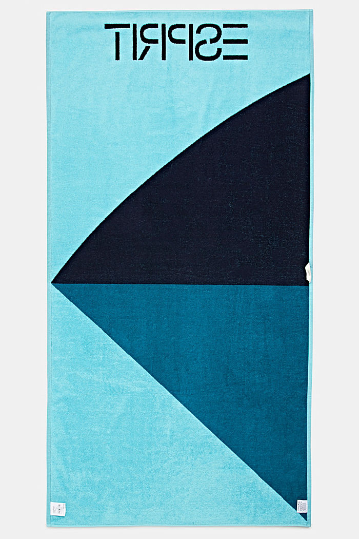 Colour block towel made of 100% cotton, TURQUOISE, detail image number 2