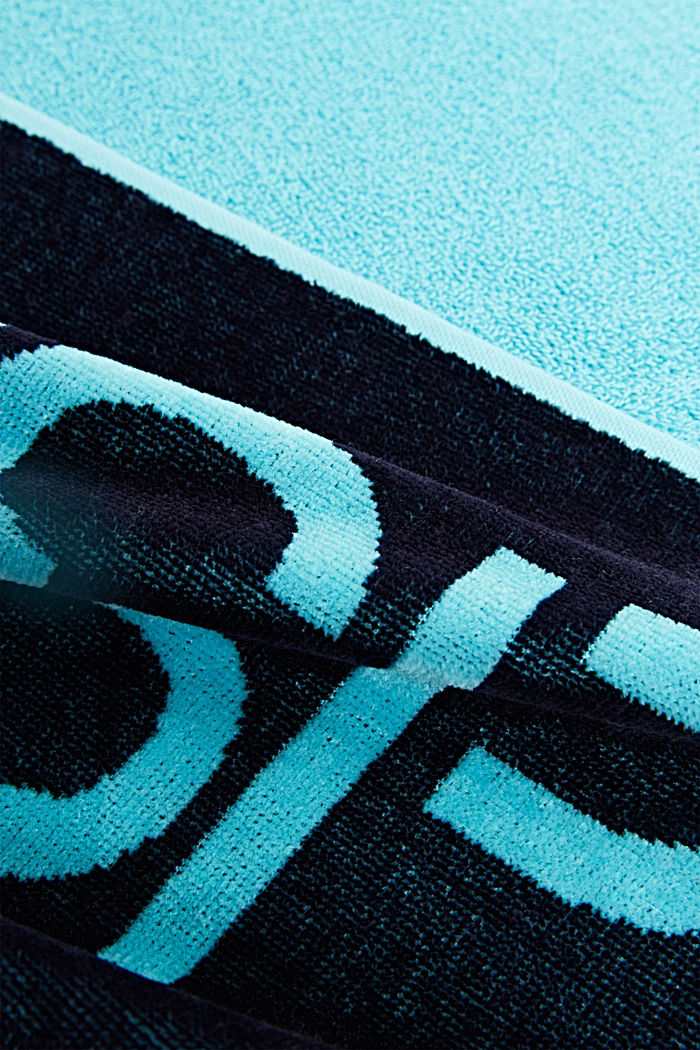 Colour block towel made of 100% cotton, TURQUOISE, detail image number 1