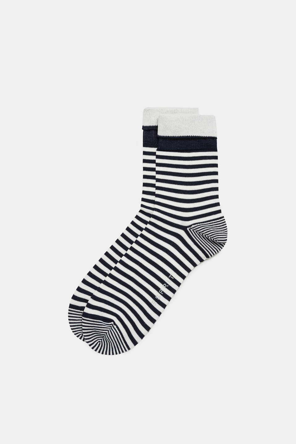 Esprit - Socks with stripes, made of blended cotton