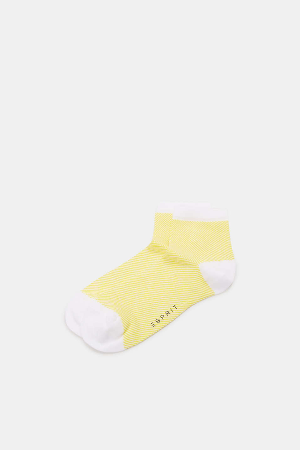 Socks with a striped design, in blended cotton, YELLOW, detail image number 0