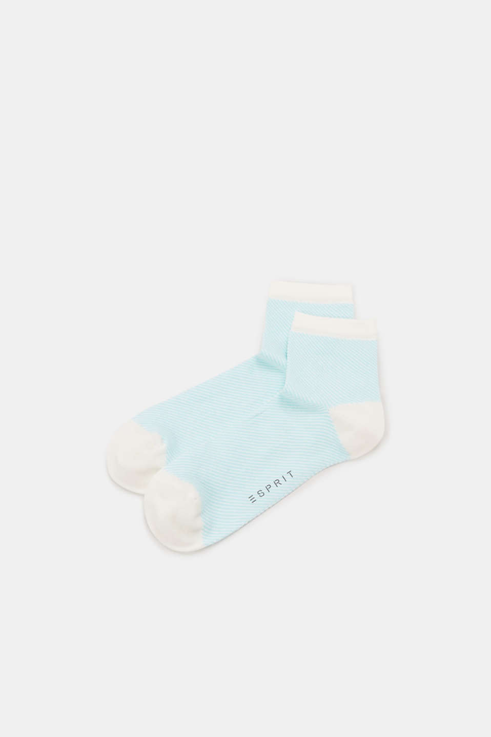 Socks with a striped design, in blended cotton, LIGHT BLUE, detail image number 0