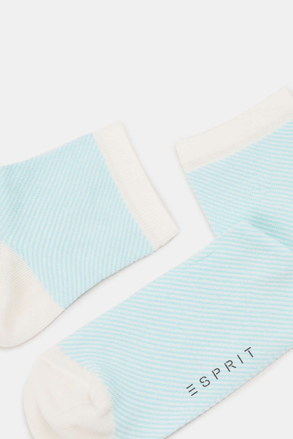 Socks with a striped design, in blended cotton, LIGHT BLUE, detail image number 1