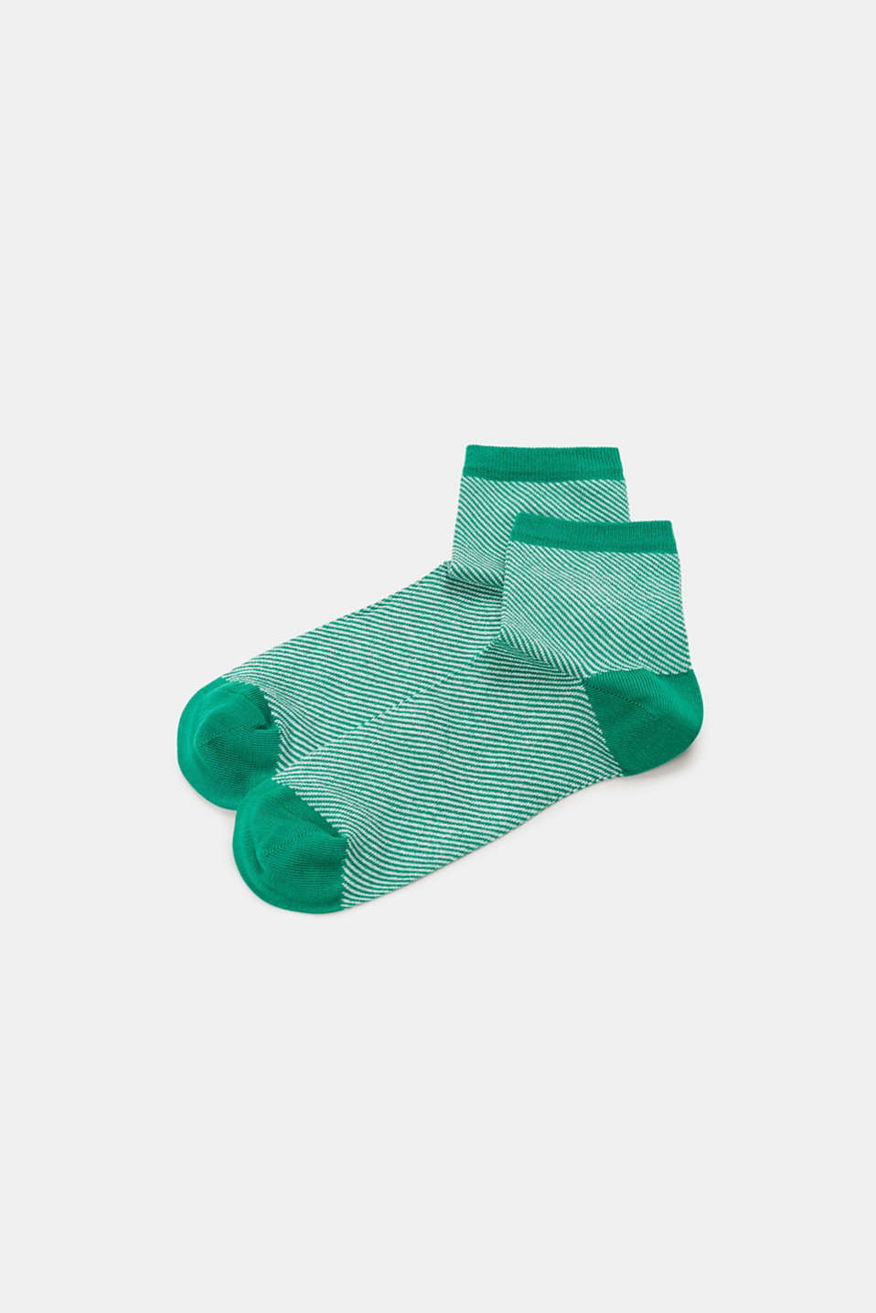 Socks with a striped design, in blended cotton, EMERALD, detail image number 0