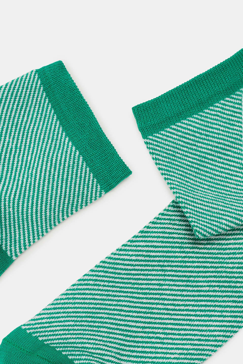 Socks with a striped design, in blended cotton, EMERALD, detail image number 1