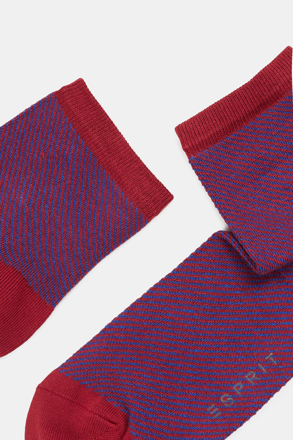 Socks with a striped design, in blended cotton, BORDEAUX, detail image number 1