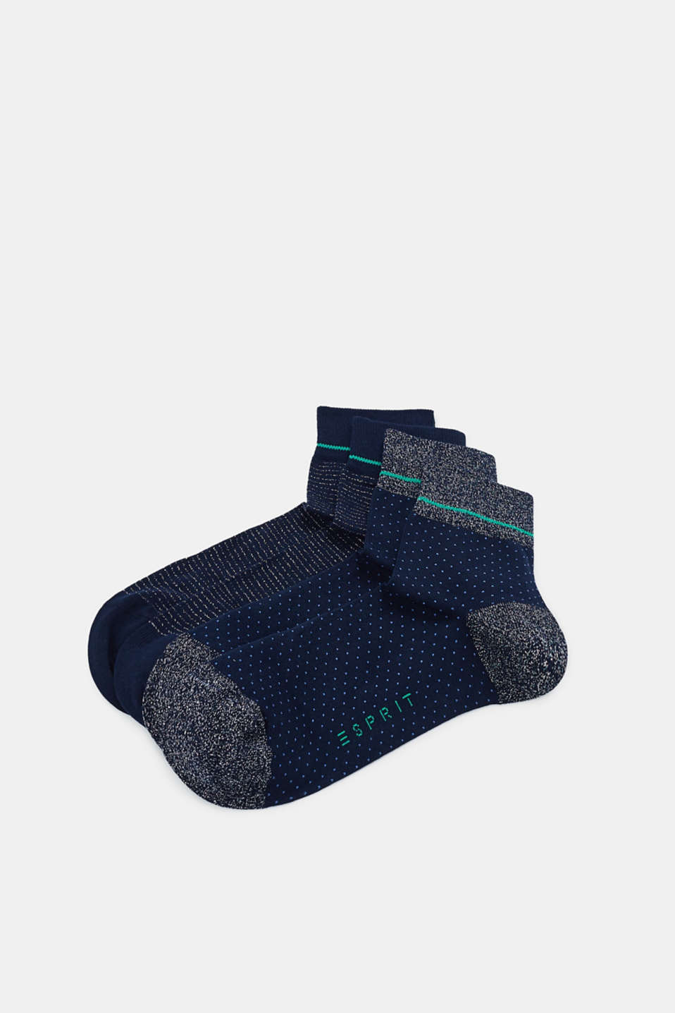 2-pack of socks with glitter detail, MARINE, detail image number 0