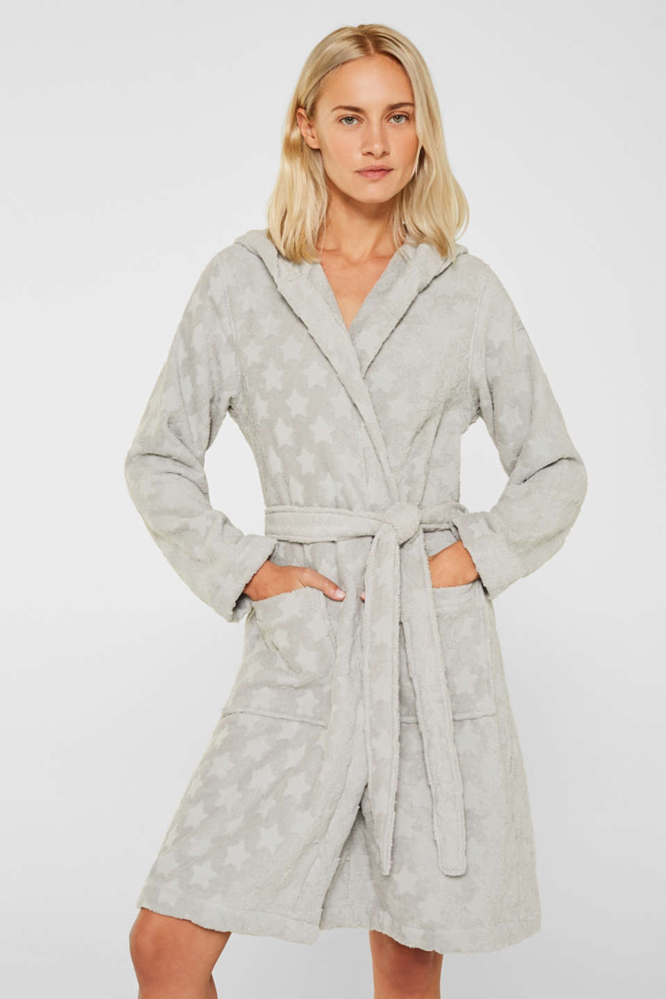 Bathrobe with star intarsia, 100% cotton, STONE, detail image number 0