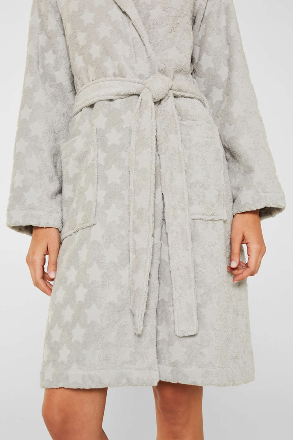 Bathrobe with star intarsia, 100% cotton, STONE, detail image number 2