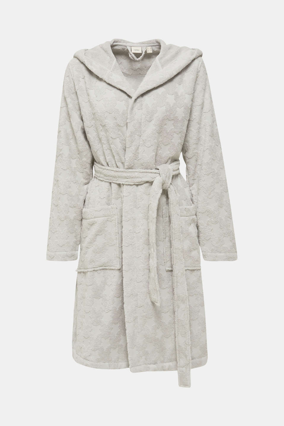 Bathrobe with star intarsia, 100% cotton, STONE, detail image number 3