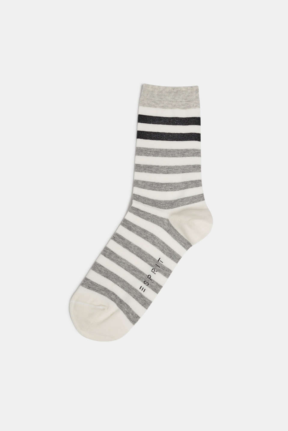 Socks with a melange striped pattern, OFF WHITE, detail image number 0