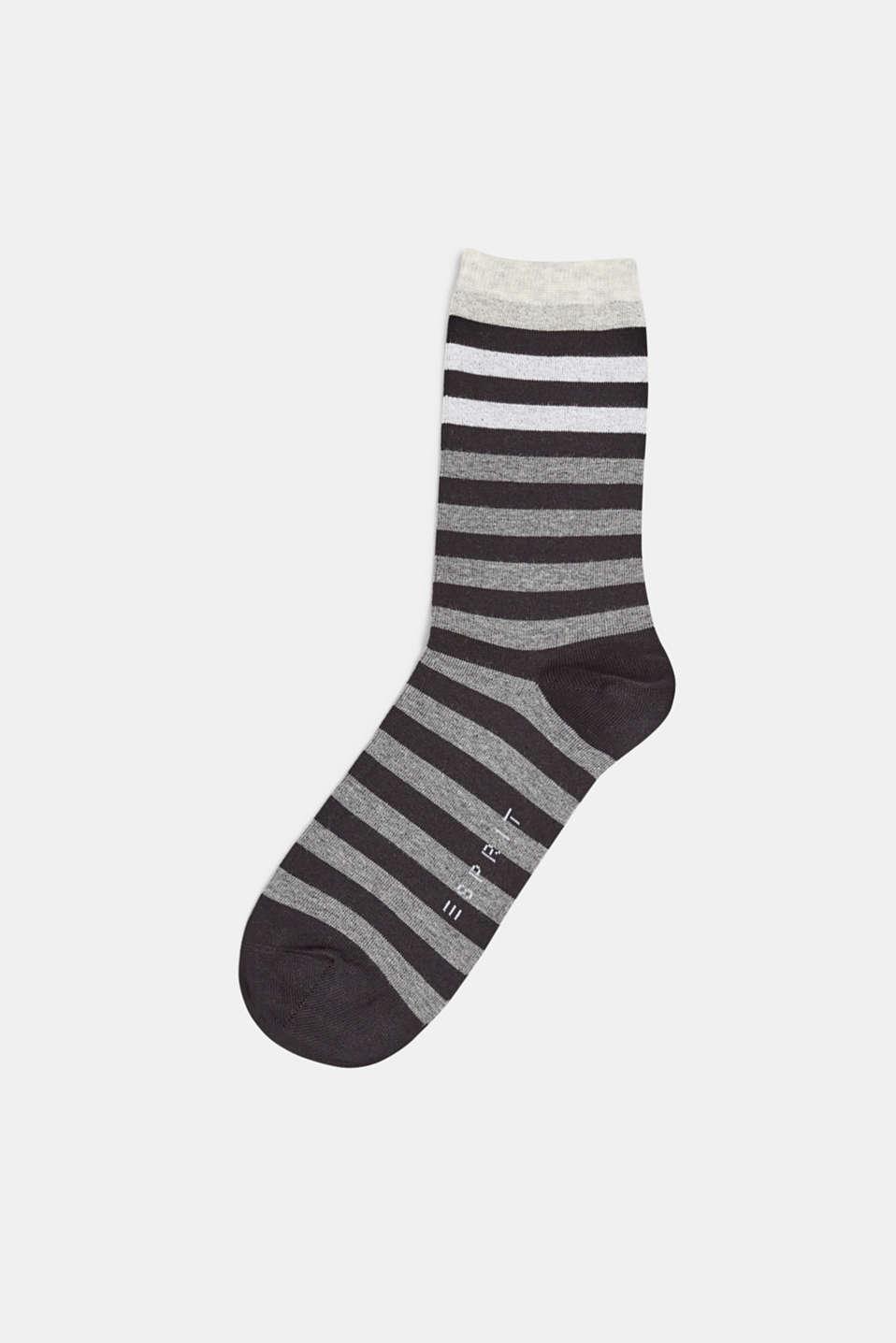 Socks with a melange striped pattern, BLACK, detail image number 0