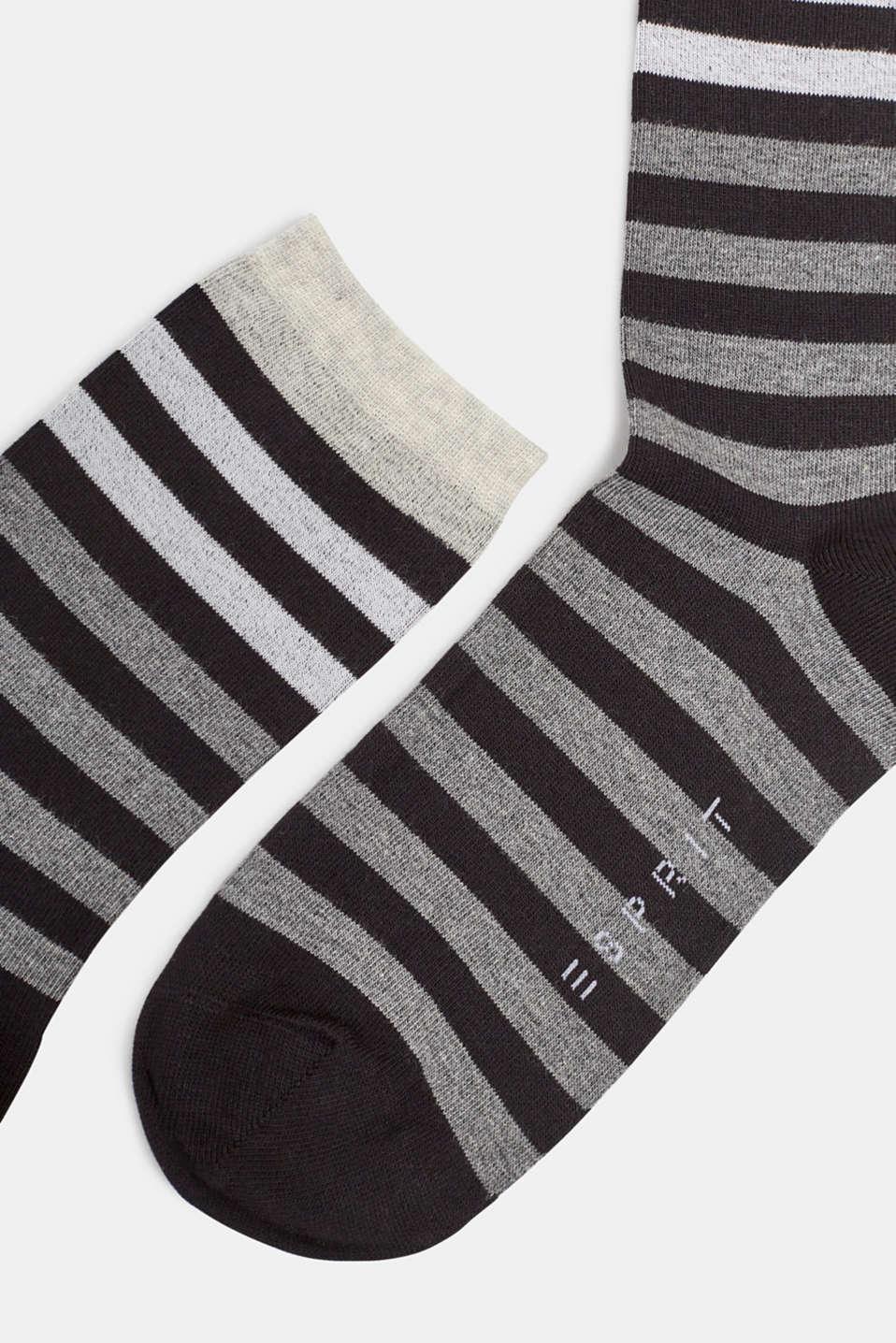 Socks with a melange striped pattern, BLACK, detail image number 1