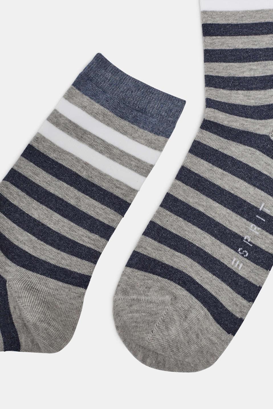 Socks with a melange striped pattern, LIGHT GREY, detail image number 1