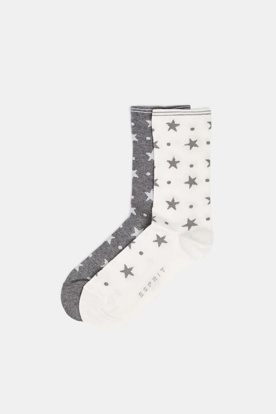 2-pack of socks with glitter accents, WHITE/GREY, detail image number 0